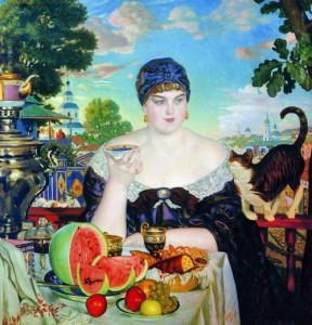 Б.М.Кустодиев Купчиха за чаем, чайные напитки, чаепитие