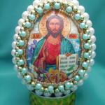 Яйцо с изображением Святителя Николая Чудотворца, бисероплетение пасхальные яйца