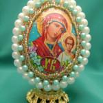 Яйцо с изображением Казанской Божьей Матери, бисероплетение пасхальные яйца