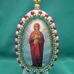 Яйцо с изображением Пресвятой Девы Марии, бисероплетение пасхальные яйца