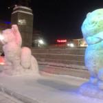 Екатеринбург. Ледовые скульптуры Талисманов зимних Олимпийских игр 2014
