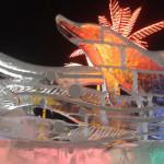 Екатеринбург. Ледовый городок. Дельфины на ледяной стене
