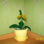 Цветы из бисера одуванчик, бисерное плетение цветов, цветы из бисера, бисероплетение цветов