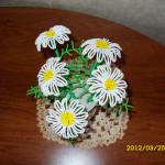 Цветы из бисера ромашки, бисерное плетение цветов, цветы из бисера, бисероплетение цветов, букеты цветов из бисера