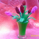 Цветы из бисера Тюльпан, бисерное плетение цветов, цветы из бисера, бисероплетение цветов