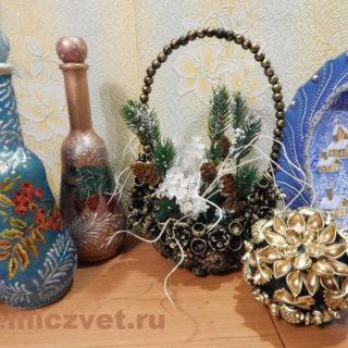 Новогоднее украшение - корзиночка «Подарки Зимнего Леса» своими руками