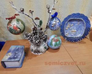 Новогодние поделки шкатулка «Зимняя» и тарелка «Картинка за окном» своими руками
