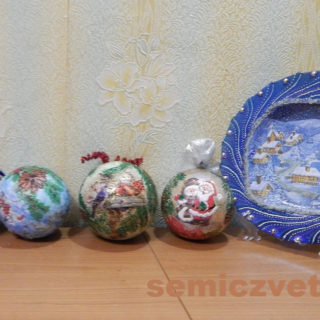 Новогодние украшения - шары «Рождественская ночь», «Снегири», «Попугайчики», «С Новым Годом и Рождеством!» своими руками