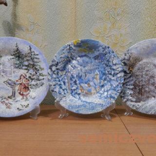 Новогодние сувенирные тарелки «Кормушка», «Сказка в зимнем лесу», «Дорога в зимний Замок» своими руками