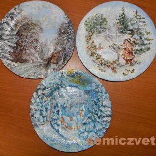 Новогодние сувенирные тарелки «Дорога в зимний Замок», «Кормушка», «Сказка в зимнем лесу» своими руками