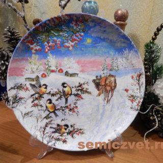 Новогодняя сувенирная тарелочка «Катание на санях» своими руками