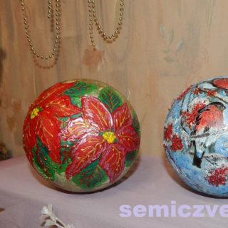 Новогодние украшения - шары «Пуансетия» и «Снегири» своими руками