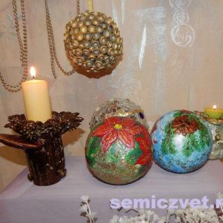 Новогодние украшения - шары «Пуансетия», «Снегири», «Самоцветный» своими руками