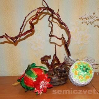 Новогодние игрушки на ёлку - шары: «Пуансетия-Рождественская Звезда» и «Снежинка» своими руками