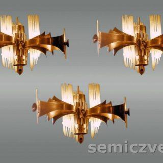 В.Д.Хахалкин. Светильники «Фотон» подвесные. 1986г. Латунь, тонированный алюминий, стекло