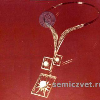 В.Д.Хахалкин. Гривна-украшение «Морозное утро». Мельхиор, медь, кварцевая щетка. Смешанная техника. 1980г.