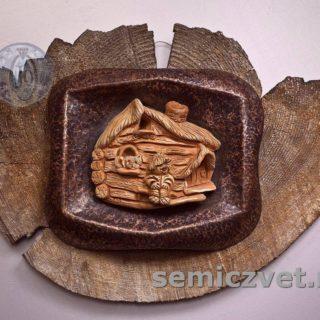В.Хахалкин. Панно «Глубинка»: Шамот, англоб, кованная медь, дерево, 1998г.