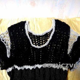 Фрагмент комбинированного платья с вязанием и тканью