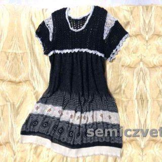 Идеи для гардероба: комбинированное платье с вязанием и тканью