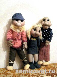 Ростовые куклы: Дед, Бабушка, Внучка своими руками