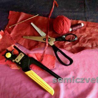 Инструмент, образцы кожи и декора, образцы пробивки и резки «Зигзагом»