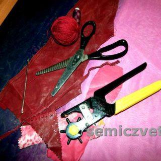 Инструмент для работы с кожей: ножницы «Зигзаг», дырокол, крючок вязальный металлический