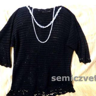 Блузон из вязаного комплекта (юбка, кофта). Декор черной одежды