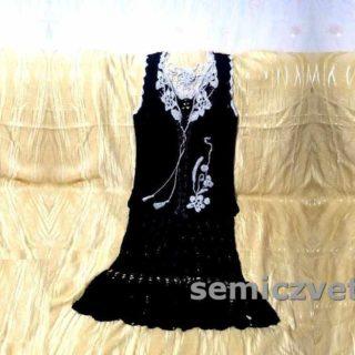 Модный вязаный комплект: юбка, кофта-топ