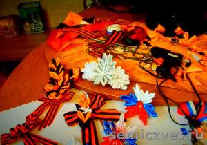 Георгиевские ленты в стиле канзаши своими руками