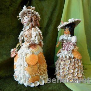 Куклы Дамы из морских ракушек своими руками