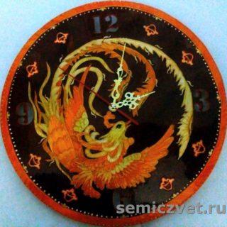 Часы «Жар-птица». Изделия из соломки