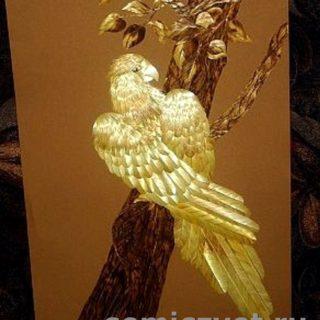 «Попугай». Картины из соломки