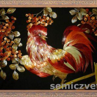 «Радужный петушок». Картины из соломки