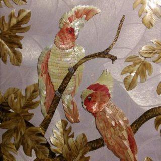 «Пара Какаду». Картины из соломки