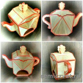Декоративный чайник «Геометрия». Изделия из соломки