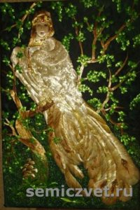Дева-птица «Гамаюн». Картины из соломки