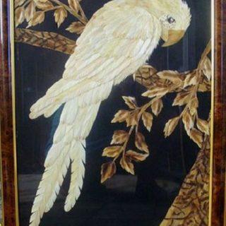 «Попугай Кеша». Картины из соломки