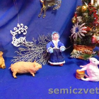 Игрушки из ваты; Девочка, Свинки, Заяц