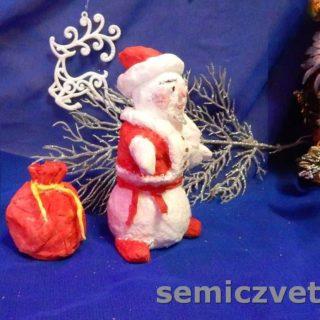 Оригинальная игрушка из ваты Снеговик