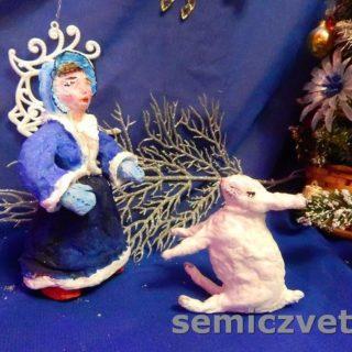 Игрушки из ваты: Заяц и Девочка