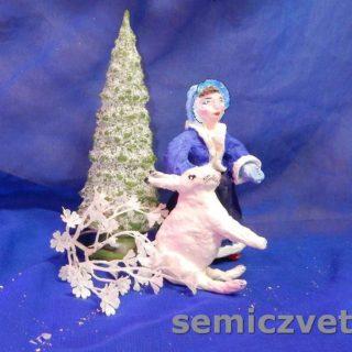 Игрушки из ваты: Девочка и Заяц