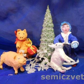 Игрушки из ваты: Девочка, Заяц, Свинки