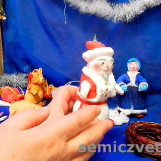 Игрушка из ваты Снеговик в бороде Деда Мороза