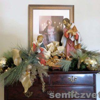 Дева Мария и младенец Иисус, плотник Иосиф. Выставка «Рождество Христово в искусстве». Даллас. Техас