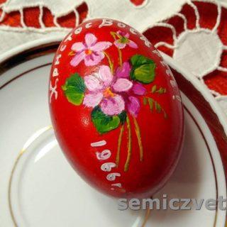Расписное пасхальное яйцо с цветами. 1966г.